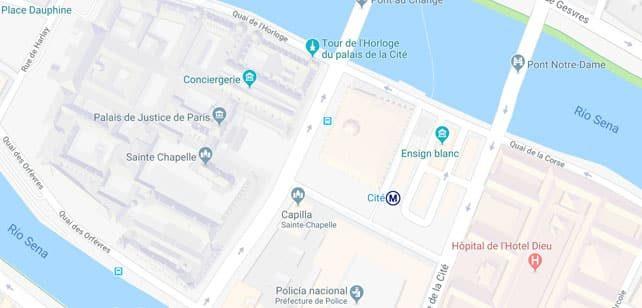 Francia-Paris-Santa-Capilla-mapa