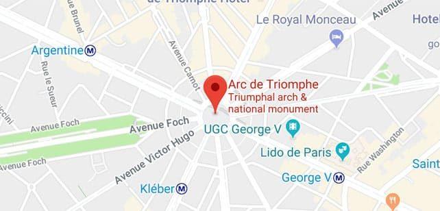 Francia-Paris-arco-del-triunfo-mapa
