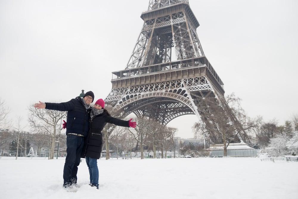 Nieve en la Torre Eiffel